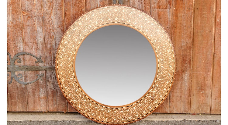 Fall In Love With The Zellige Round Bone Inlay Mirror!