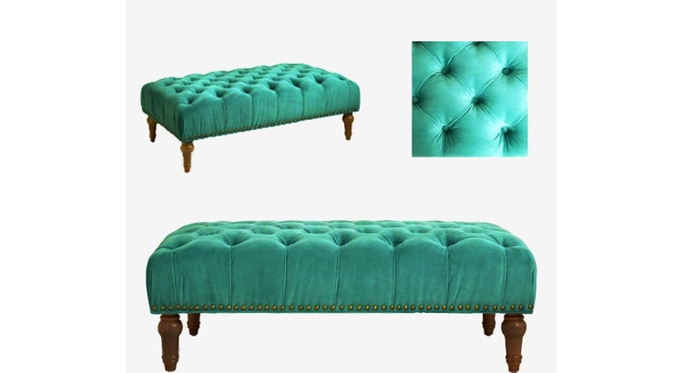 Take A Peek At Our Byrn Green Marcel Tufted Ottoman!