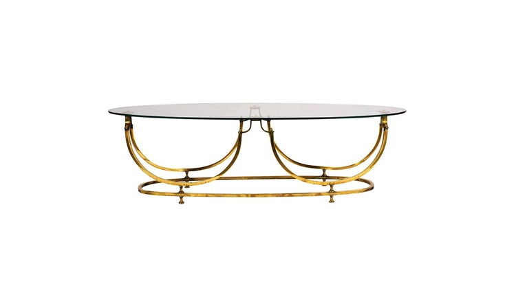 Take a Look at Our Vintage 1960's Modern Brass and Glass Oval Cocktail Table!