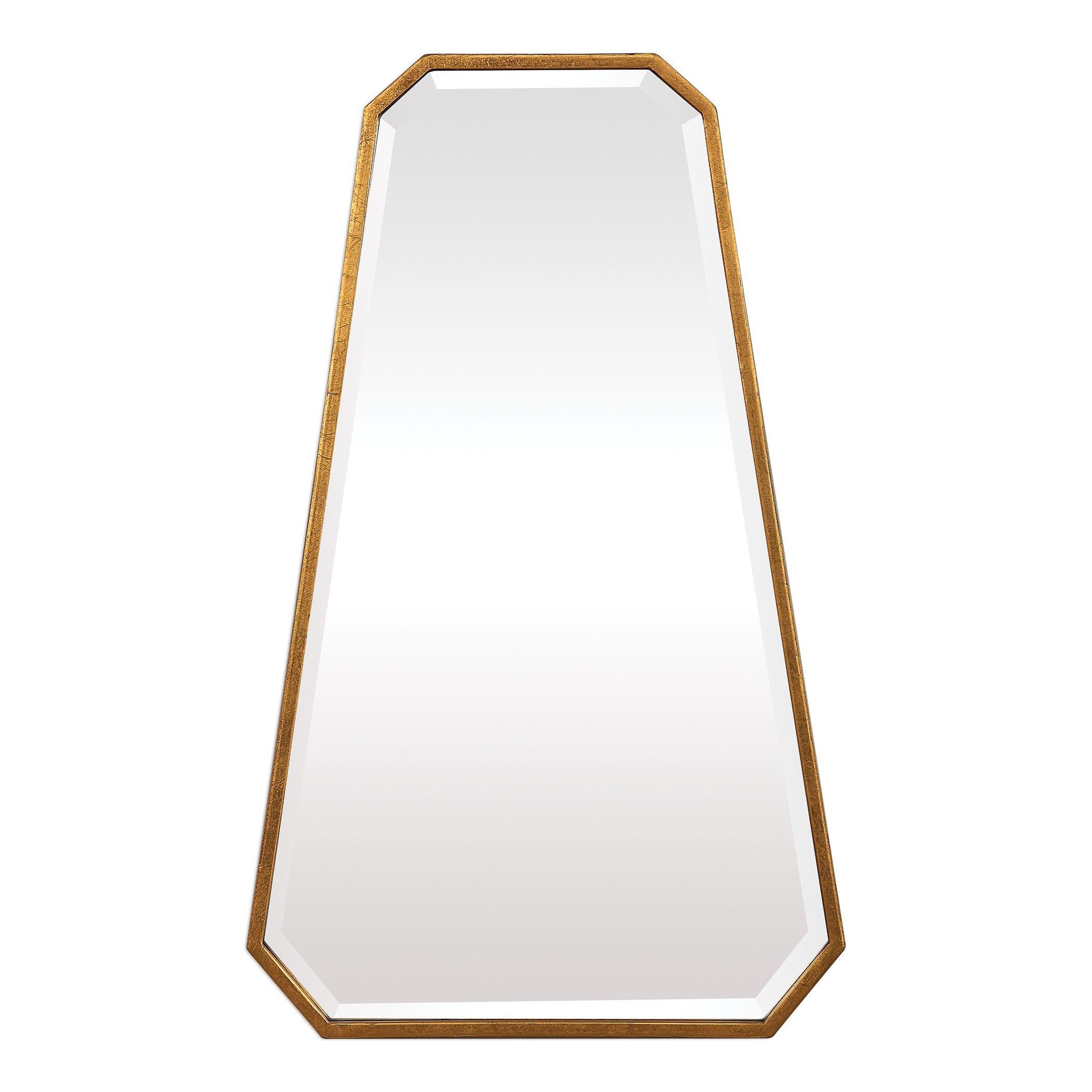 Ottone Mid Century Modern Metallic Gold Leaf Wall Mirror
