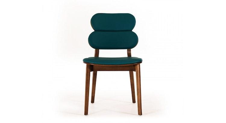 We Love The Modrest Raeanne Modern Turquoise & Walnut Dining Chair!