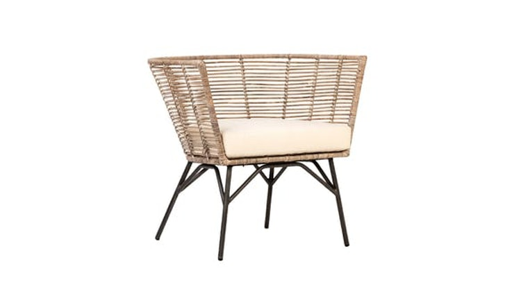 Take A Peek At Our Modern Rattan And Iron Arm Chair!