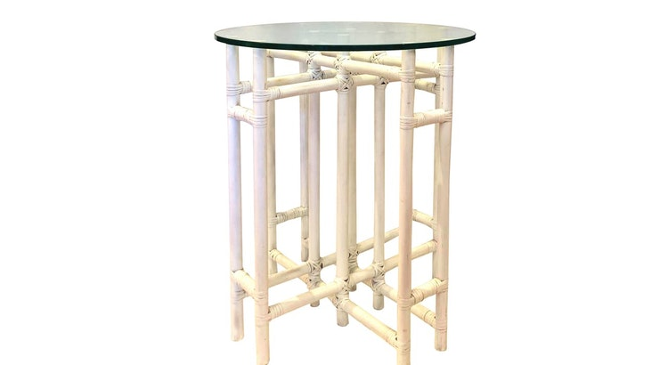 Take A Look At The Vintage Boho Chic Round Glass Top Rattan Table!