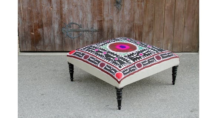 Get Bright and Colorful With Our Vintage Suzani Square Ottoman!