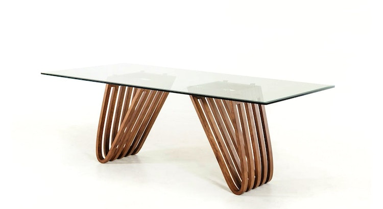 Introducing The Draper Walnut & Glass Dining Table!