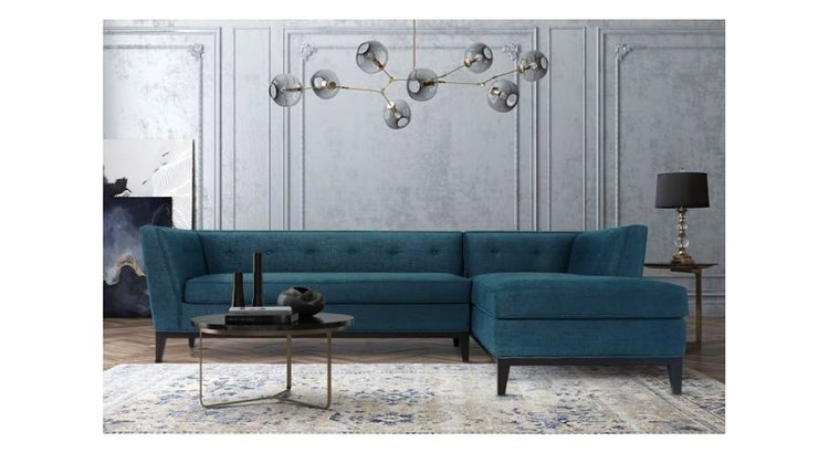 Fall In Love With The Jess Azure Textured Linen Sectional!