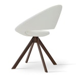 Crescent Sword Dining Chair, Walnut Veneer Steel Base