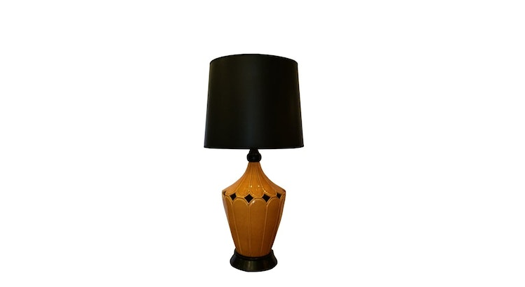 This Vintage Mustard Ceramic Lamp Is One Of A Kind!