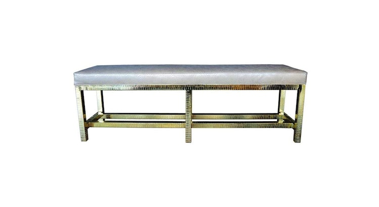 We Are Smitten With Our Brass and Leather Bench!