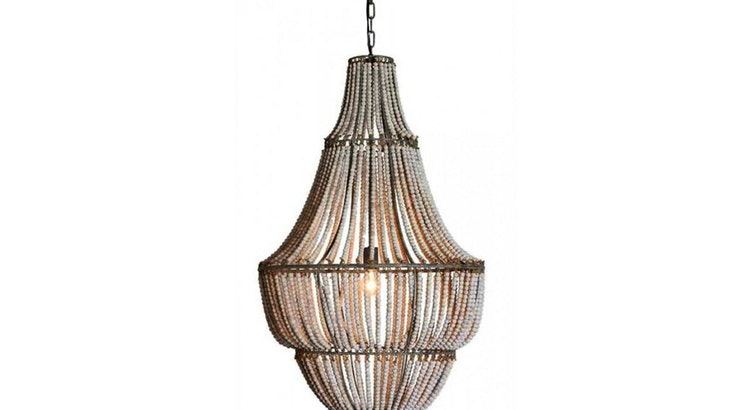 The Bleached Wood Bead Chandelier Is Our Pick Of The Week!