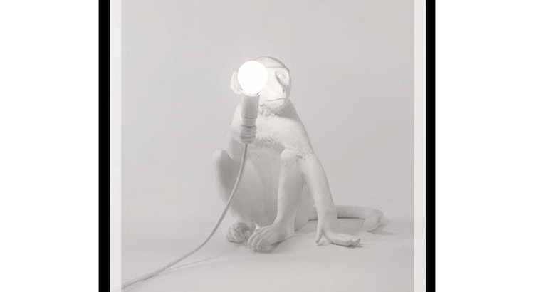 The White Sitting Monkey Lamp Is One Of A Kind!