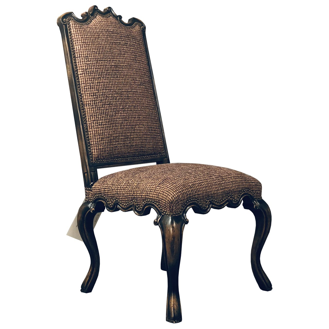 Peachy An Ornate Dining Chair In Tweed Fabric Lamtechconsult Wood Chair Design Ideas Lamtechconsultcom