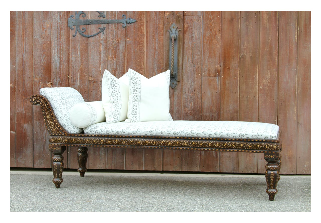 Sensational Anglo Indian Block Print Linen Upholstered Chaise Lounge Ncnpc Chair Design For Home Ncnpcorg