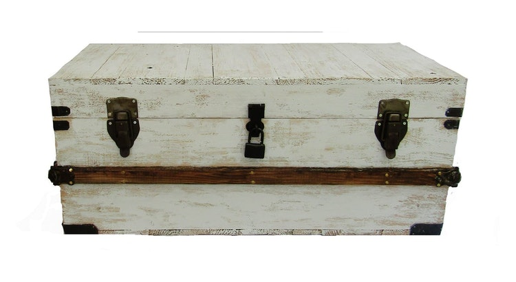 The White Washed Reclaimed Wood Steamer Trunk is Timeless!