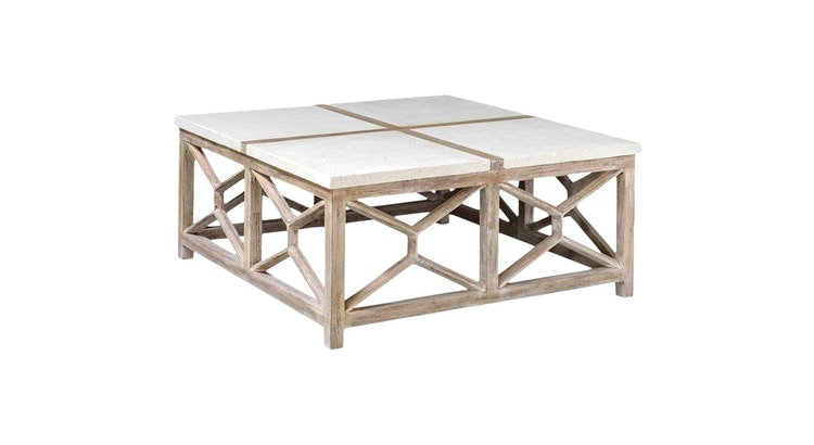Introducing Our Limestone Top Cocktail Table!
