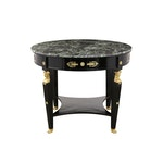 French Early 1900s Empire Style Ebonized Round Center Table