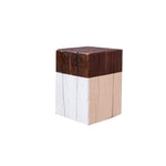 The White Square natural wood stool