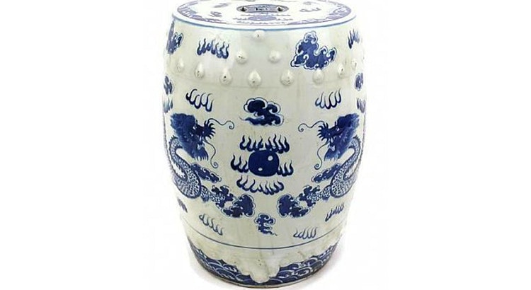 Check Out Our Blue & White Garden Stool!