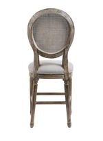 Maddox 24in Mesh Back Stool - Dyed Grey Oatmeal Linen