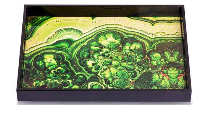 We Are Smitten With The Lacquered Malachite Graphic Tray!