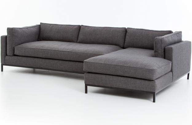 Draper 2 Piece Sectional With Right Chaise Charcoal Grey Marco