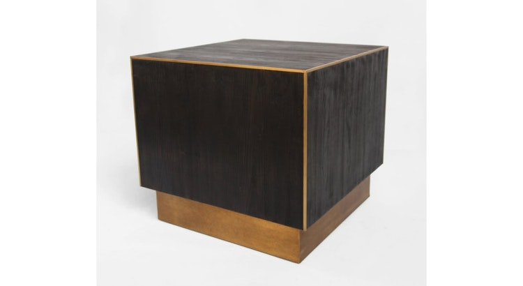 The Cube Wood & Brass Side Table Is So Stunning!