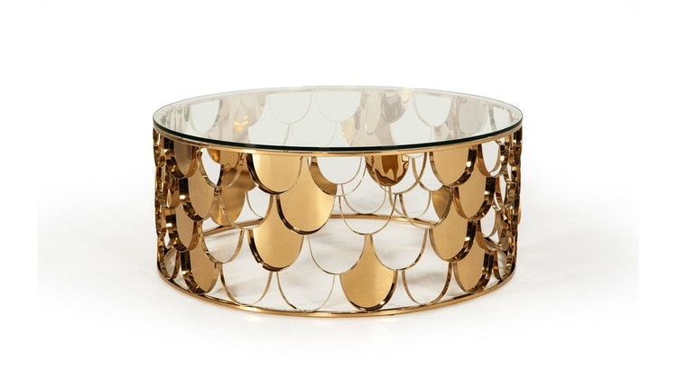 We Are Amazed With The Javier Modern Glass & Gold Round Coffee Table!