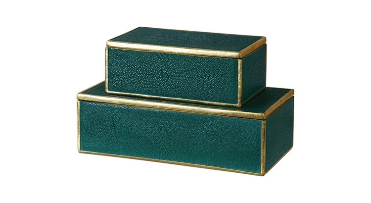 Introducing The Karis Emerald Green and Gold Leaf Decorative Boxes!