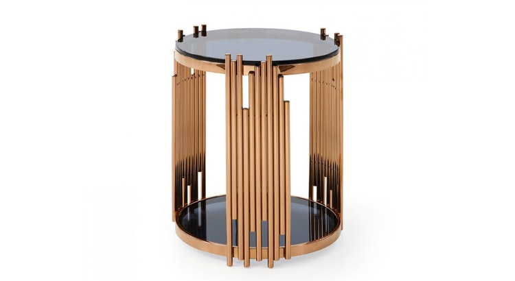 Introducing The Bryce Modern Smoked Glass & Rose Gold Round End Table!
