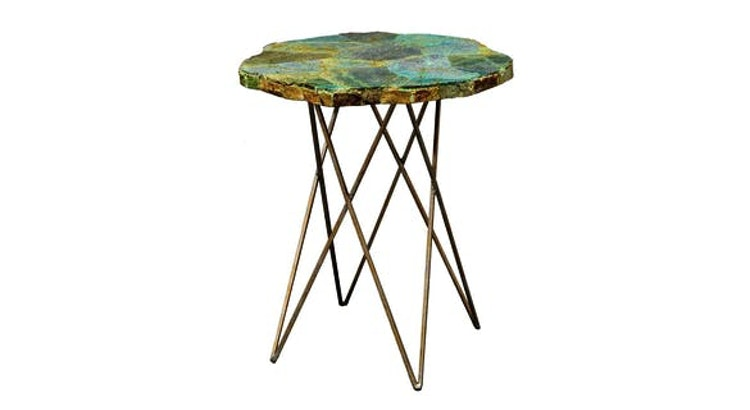 Get Colorful with the Palacek Malachite Side Table!
