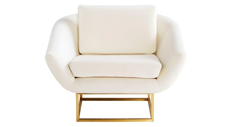 Make A Statement With The Shiva Mid-century Modern Off-white and Brushed Brass Accent Chair!