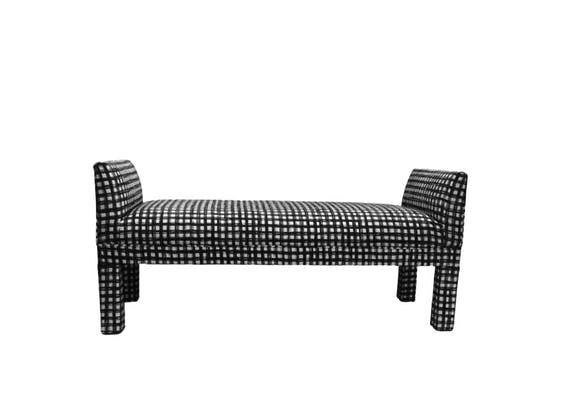 We Adore Our Black and White Check Upholstered Bench!