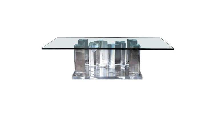 Spotlight's On Our Fancy Lucite Prism Coffee Table!