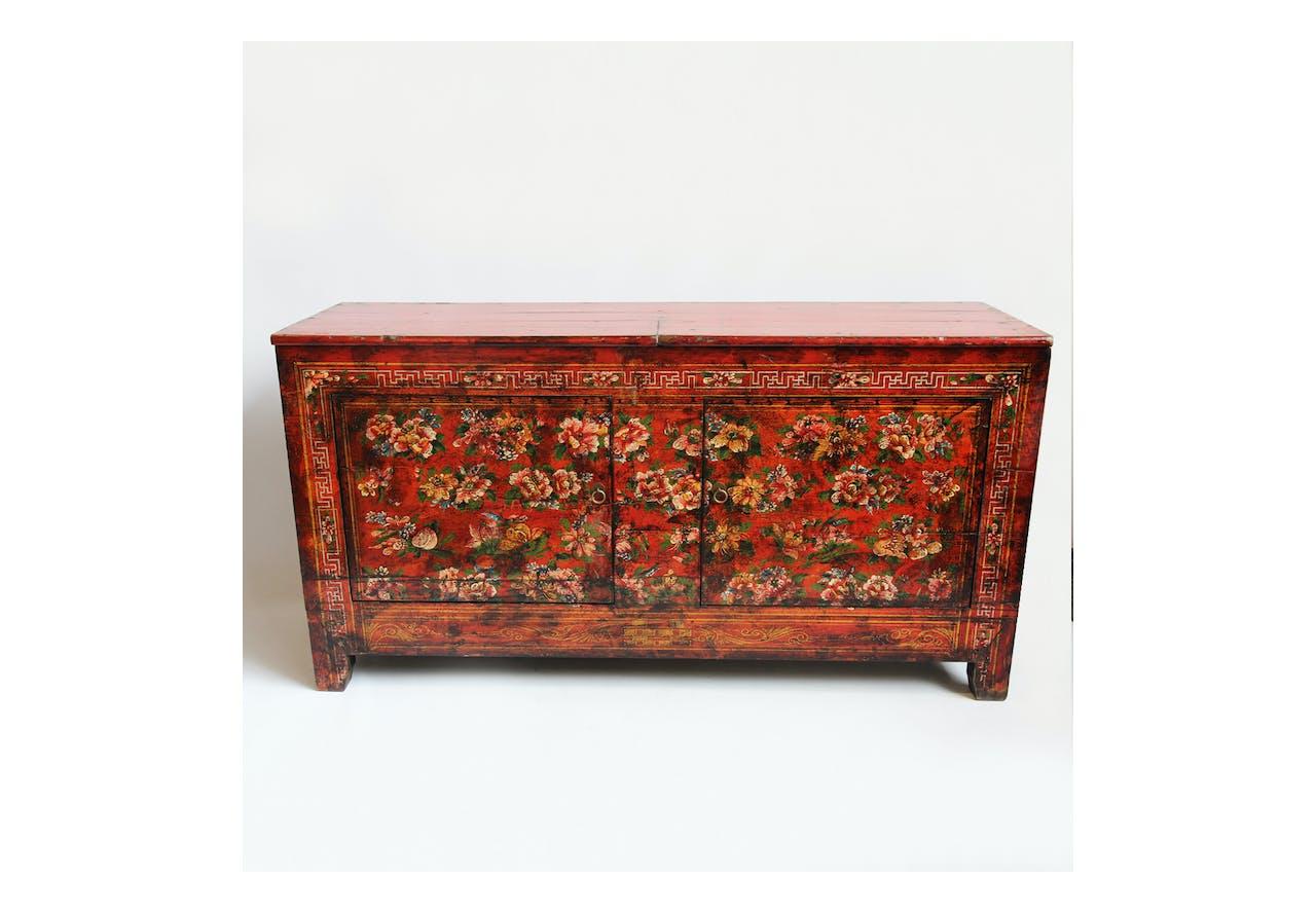 Antique Fl Painted Cabinet