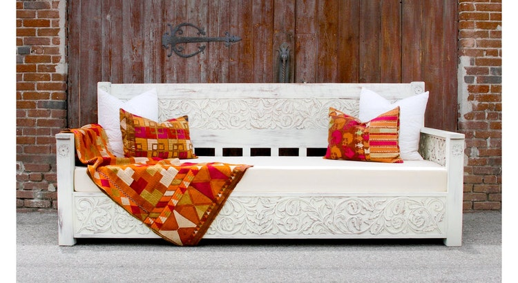 Presenting The Floral Carved White Painted Daybed!