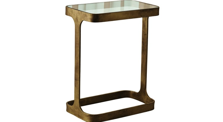 Presenting The Saddle Rectangular Antique Gold Accent Table!