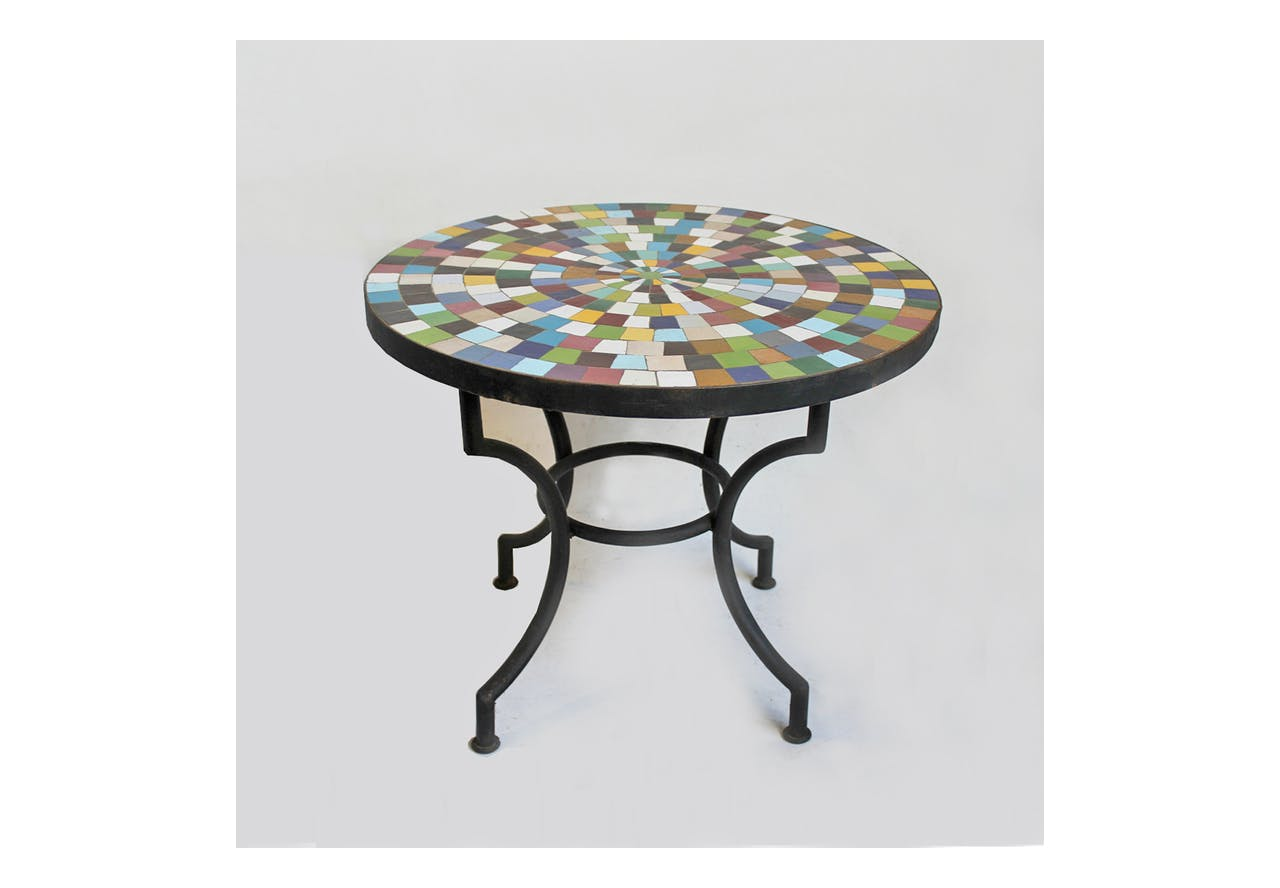 Round Mosaic Tile Side Table 24 Mix