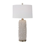 Zade Contemporary Crackled Warm Gray Ceramic Table Lamp