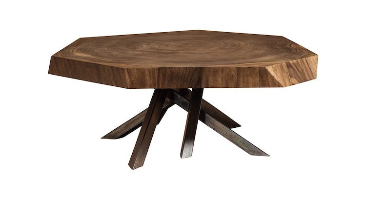 Get Your Hands On Our Faceted Wood Coffee Table!