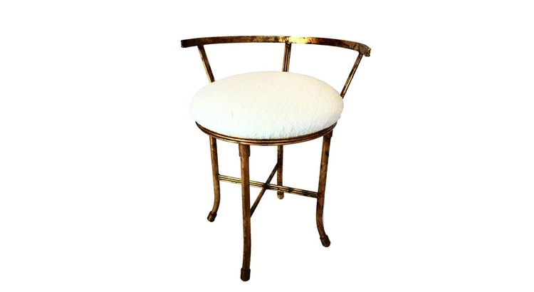 We Are Smitten With The Vintage Mid Century Gold Leaf Stool!