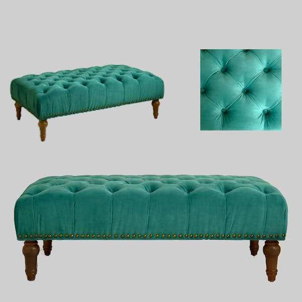 Photo of Byrn Green Marcel  Tufted Ottoman