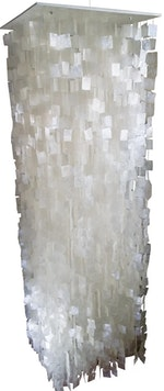 "Capiz Shell Waterfall Pendant, square cut shells 24""x24""x72"""