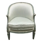 Louis XVI Style Green Striped Bergere