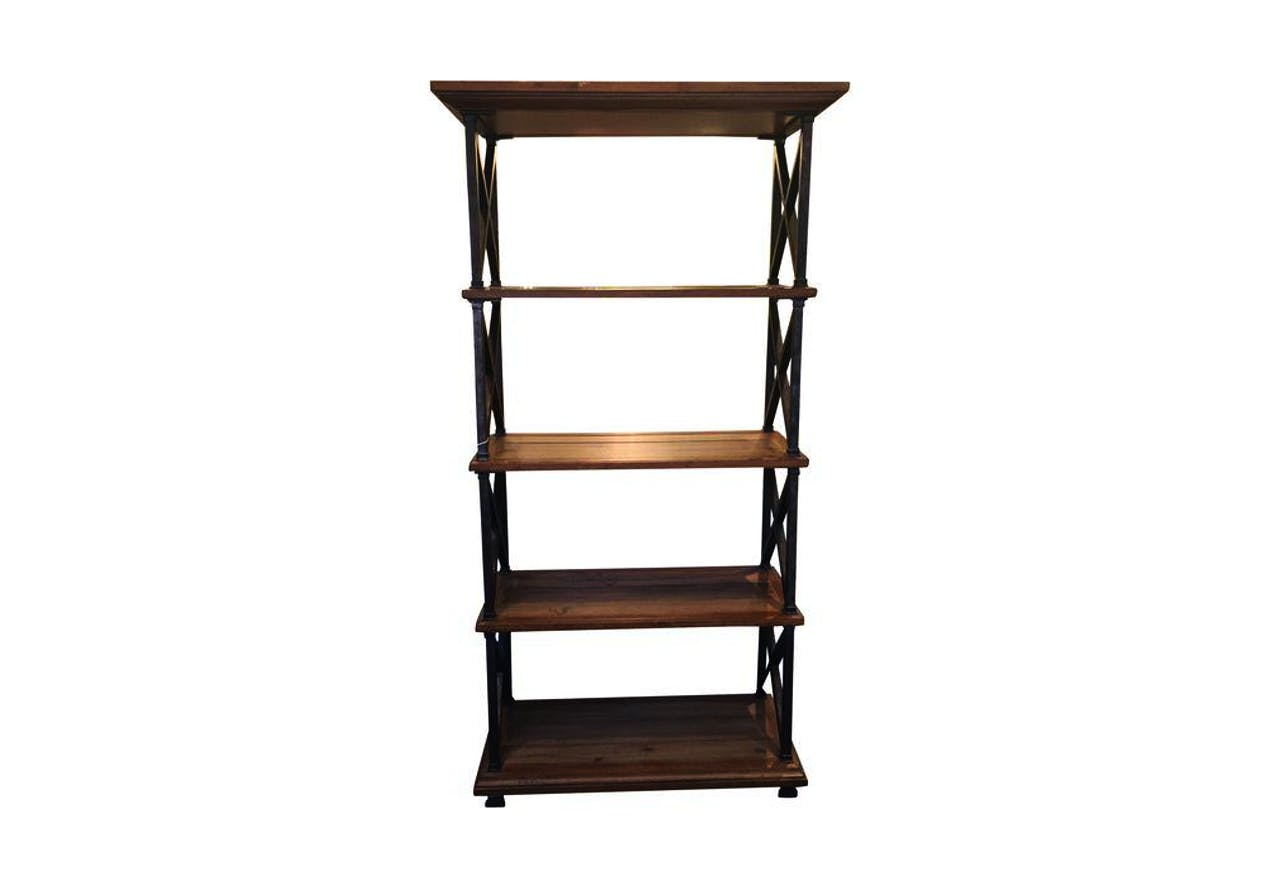 Distressed Iron And Wood Bookshelf Kenneth Ludwig Chicago