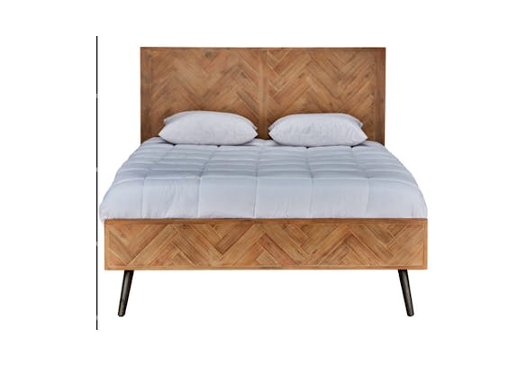 Mid-Century Modern Pine Bed Eastern King   Mix Furniture   Boutique ...