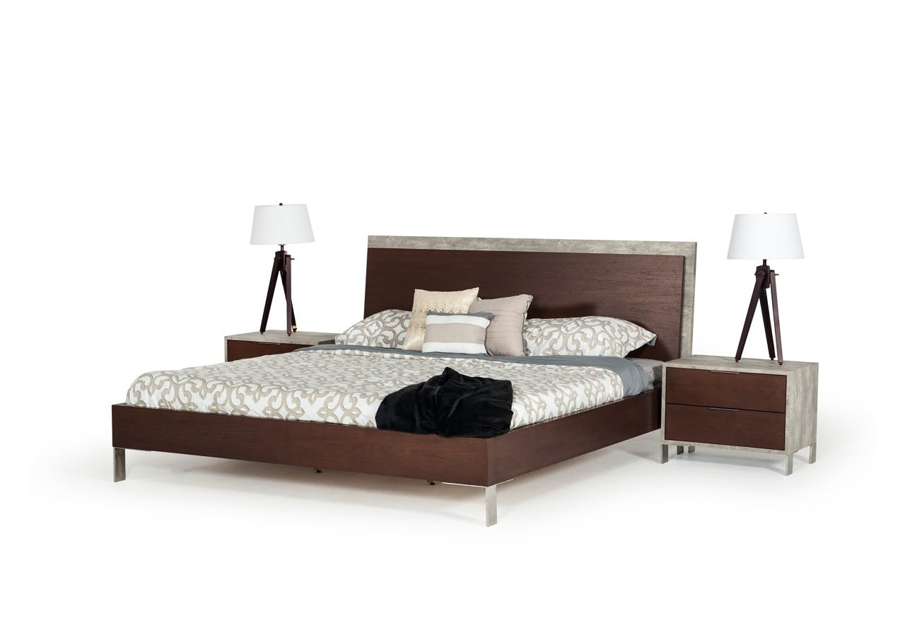 Nova Domus Conner Modern Dark Walnut & Concrete Bedroom Set ...