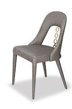 Poly Linen Champagne Fabric Dining Chair W/Gold Trimming