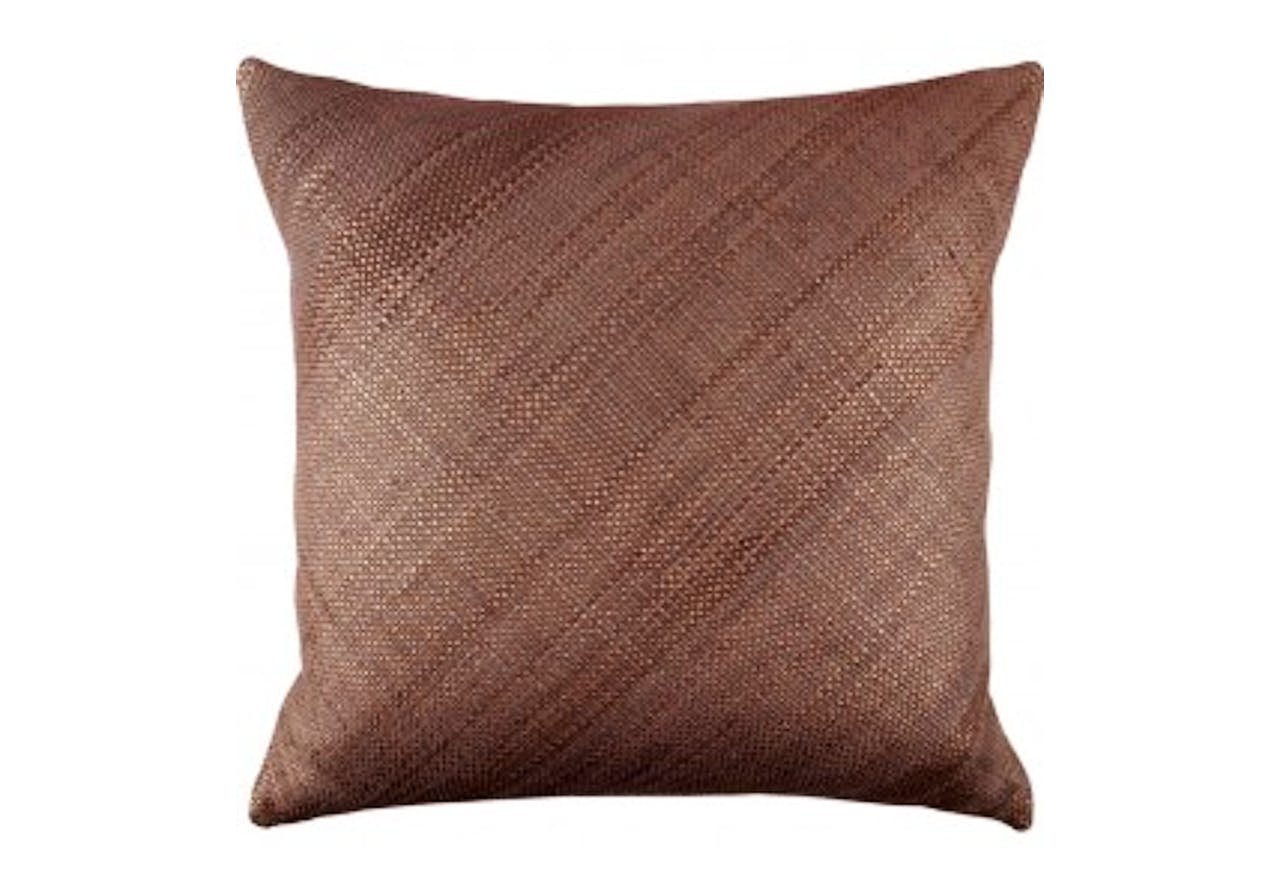 Woven Leather Pillow Bronze